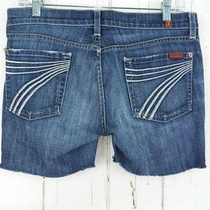 7 FAMK Dojo Cut Off Jean Shorts
